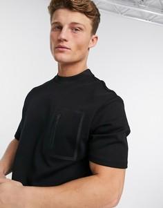 Черная фактурная футболка River Island-Черный цвет
