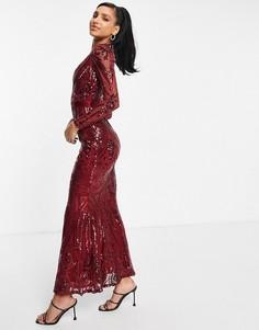 Красное платье макси с глубоким вырезом и юбкой годе Goddiva-Красный
