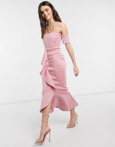 Пудровое платье миди с вырезом лодочкой, корсетом и юбкой годе True Violet Exclusive-Розовый