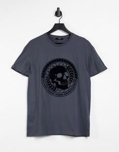 Серая футболка с флокированным декором в виде черепа Jack & Jones Premium-Серый