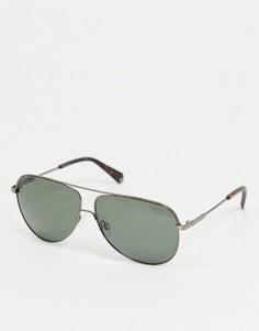 Солнцезащитные очки-авиаторы с зелеными стеклами Polaroid-Серебристый