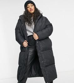 Удлиненное пальто-пуховик Threadbare Curve Jodie-Черный цвет