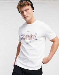 Белая футболка с принтом в виде 2 лошадей Levis-Белый