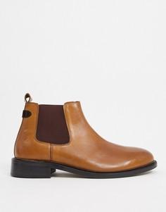 Светло-коричневые кожаные ботинки челси Dune Wide Fit-Светло-коричневый