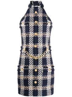 Balmain твидовое платье с цепочкой