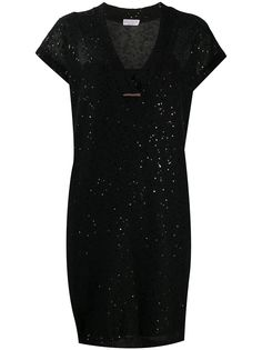 Brunello Cucinelli платье-футболка с пайетками