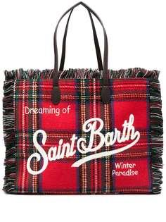 Mc2 Saint Barth сумка-тоут в клетку тартан с бахромой