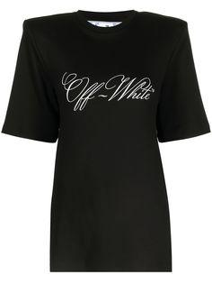 Off-White футболка с объемными плечами и логотипом