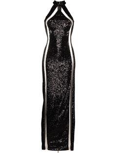 Balmain платье с пайетками и вырезом халтер