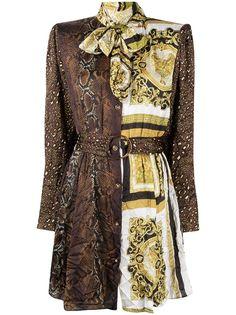 Versace платье-рубашка со вставками и принтом