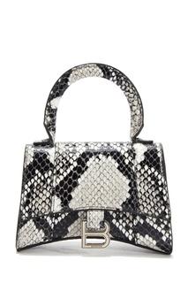 Черная кожаная сумка Hourglass Top Handle Balenciaga