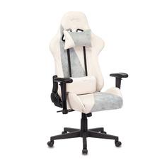 Кресло игровое БЮРОКРАТ VIKING X, на колесиках, ткань, серо-голубой/белый [viking x blue]