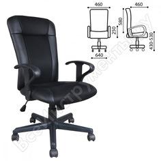 Кресло оператора с подлокотниками, экокожа/ткань, черное brabix optima mg-370 531580