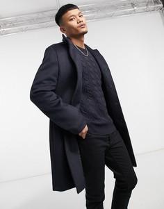 Темно-синее пальто из смесовой шерсти с воротником-стойкой ASOS DESIGN-Темно-синий