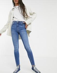 Синие зауженные джинсы с высокой талией Bershka-Голубой