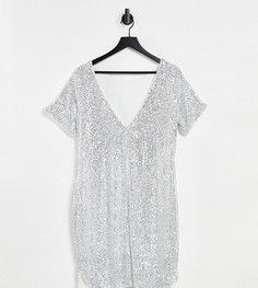 Серебристое платье-футболка мини с пайетками Jaded Rose Maternity-Серебристый