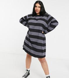 Платье-футболка в стиле oversized с длинными рукавами в черно-серую полоску ASOS DESIGN Curve-Серый