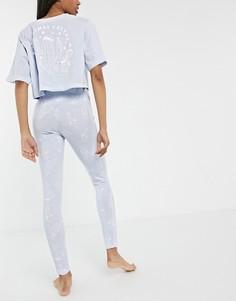 """Новогодняя пижама с короткой футболкой и леггинсами пыльно-голубого цвета с надписью """"Christmas Cactus"""" ASOS DESIGN-Голубой"""