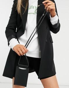 Чехол для телефона с ремешком через плечо черного цвета с плетеным узором Glamorous-Черный цвет