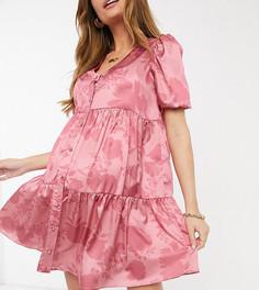Розовое платье мини на пуговицах с цветочным принтом In The Style Maternity x Dani Dyer-Многоцветный