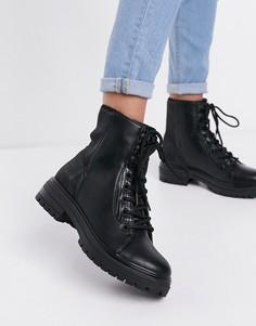 Черные ботинки на толстой подошве из экокожи на шнуровке Call It Spring by ALDO Alexia-Черный