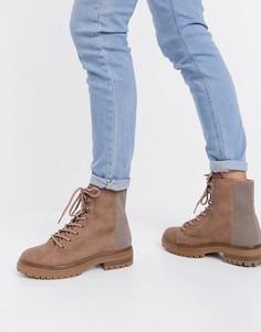 Бежевые ботинки на толстой подошве из экокожи на шнуровке Call It Spring by ALDO Alexia-Бежевый