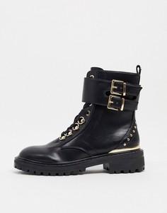Черные байкерские ботинки с заклепками Lipsy-Черный цвет