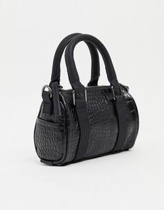 Черная сумка мини из искусственной кожи с ремешком через туловище ASOS DESIGN-Черный цвет