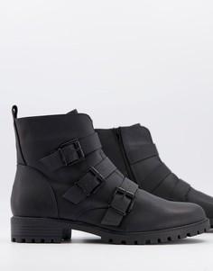 Черные байкерские ботинки с тремя пряжками New Look-Черный цвет