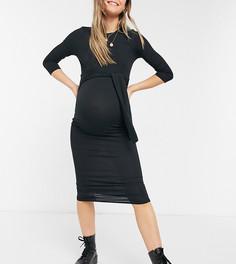 Черное платье миди в рубчик с поясом New Look Maternity-Черный цвет