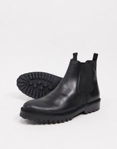 Черные кожаные ботинки-челси с массивной подошвой Selected Homme-Черный