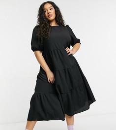 Черное фактурное платье миди с объемными рукавами New Look Curve-Черный цвет