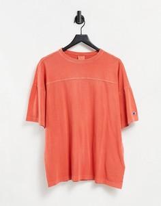 Свитшот оранжевого цвета с эффектом кислотной стирки Champion Reverse Weave-Оранжевый цвет