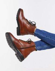 Оранжевые кожаные ботинки на шнуровке и плоской подошве Dune-Светло-коричневый