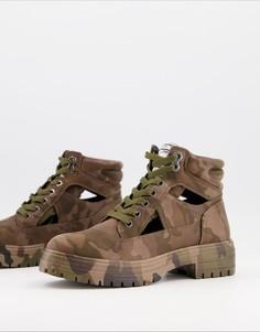 Ботинки на толстой подошве из экокожи в камуфляжной расцветке на шнуровке Call It Spring by ALDO River-Зеленый