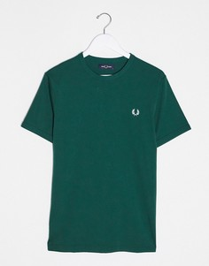 Зеленая футболка с контрастной окантовкой Fred Perry-Зеленый