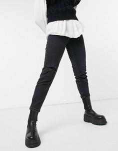 Черные винтажные джинсы узкого кроя из органического хлопка с рваной отделкой Stradivarius-Черный цвет
