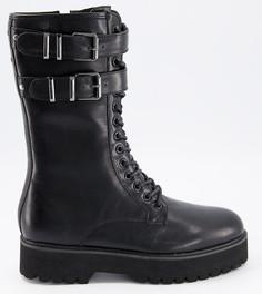 Высокие ботинки на шнуровке из черной искусственной кожи с массивной подошвой и фурнитурой ASOS DESIGN-Черный цвет