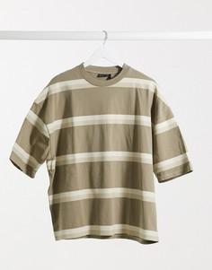 Плотная полосатая футболка в стиле oversized с эффектом кислотной стирки ASOS DESIGN-Многоцветный