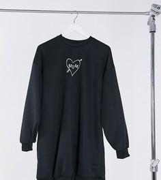 """Эксклюзивное черное платье в стиле oversized с надписью """"mum"""" ASOS DESIGN Maternity-Черный"""