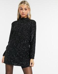 Черное платье мини с пайетками Pepe Jeans Farah-Черный цвет