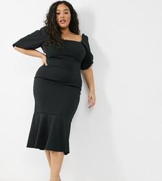Черное платье миди с асимметричным низом, квадратным вырезом и пышными рукавами True Violet Plus-Черный цвет
