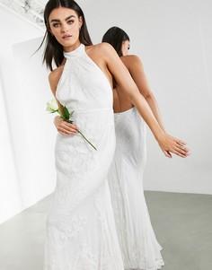 Свадебное платье с вышивкой, воротом халтер и шлейфом ASOS EDITION Ottilie-Белый
