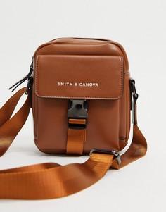 Светло-коричневая сумка через плечо с застежкой-зажимом спереди Smith & Canova-Коричневый цвет
