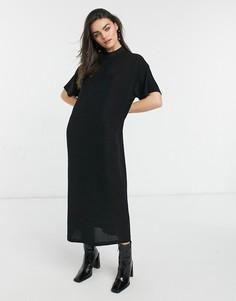 Черное платье макси с короткими рукавами Dr Denim-Черный цвет