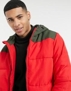 Красная дутая куртка с капюшоном Only & Sons-Красный