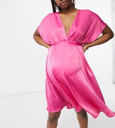 Светло-вишневое атласное платье миди с рукавами кимоно Blume Maternity-Розовый цвет