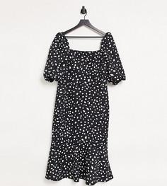Черное платье миди в горошек с квадратным вырезом, пышными рукавами и юбкой годе True Violet Plus-Черный