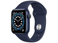 Умные часы APPLE Watch Series 6 40mm Blue Aluminium Case with Deep Navy Sport Band MG143RU/A Выгодный набор + серт. 200Р!!!