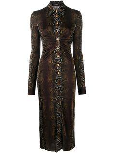 Versace платье-рубашка со змеиным принтом
